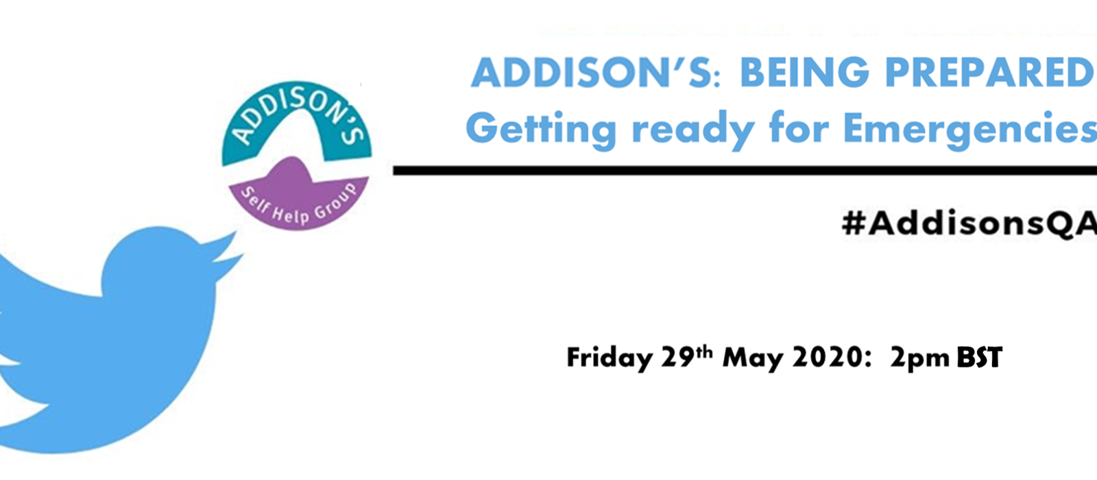 International Addison's Day Twitter Chat - Being Prepared For Emergencies - 20/05/2020